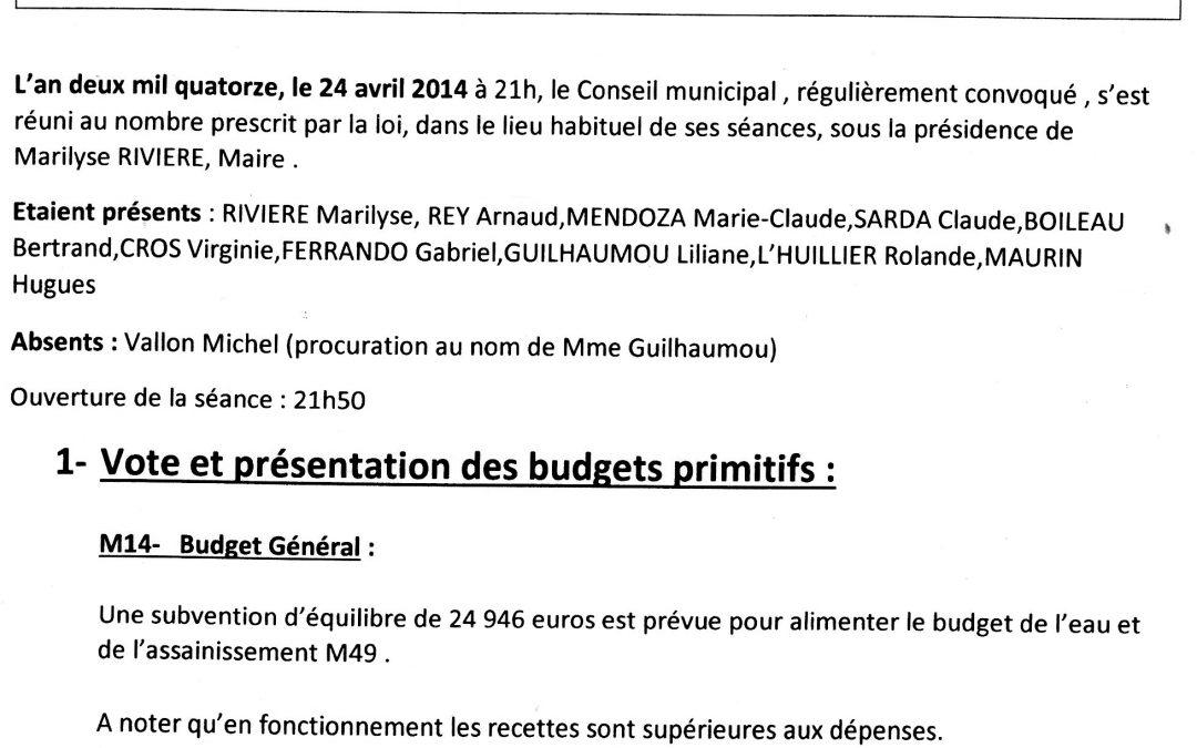 Compte rendu conseil municipal 2014-04-28