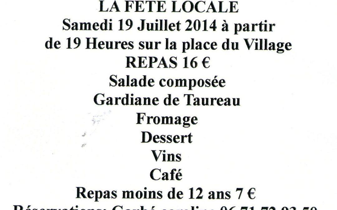 Comité sports culture et loisisirs : fête locale 19 juillet 2014