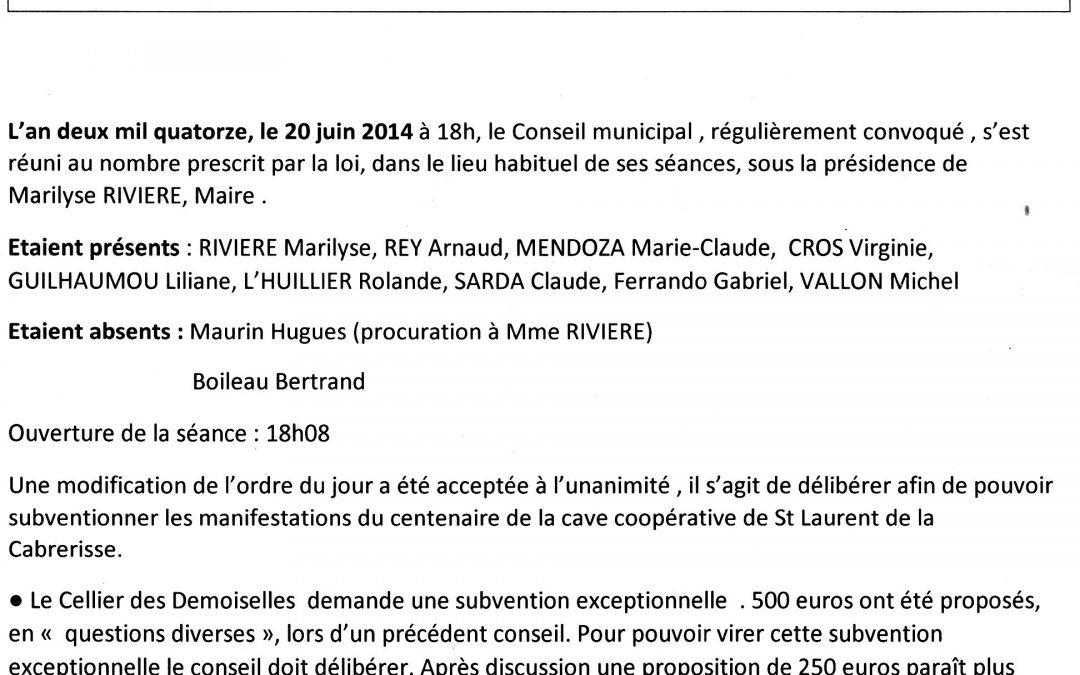 Compte rendu conseil municipal 2014-06-20