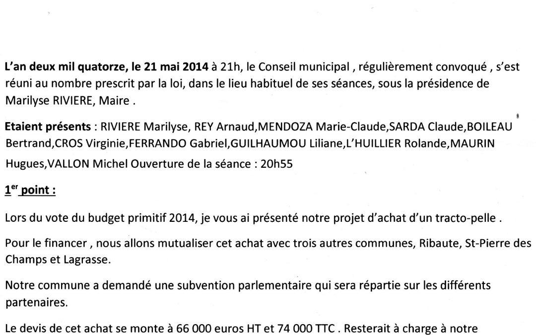 Compte rendu conseil municipal 2014-05-21