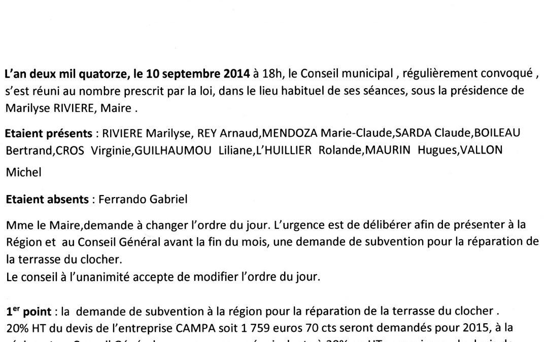 Compte rendu Conseil municipal 2014-09-10