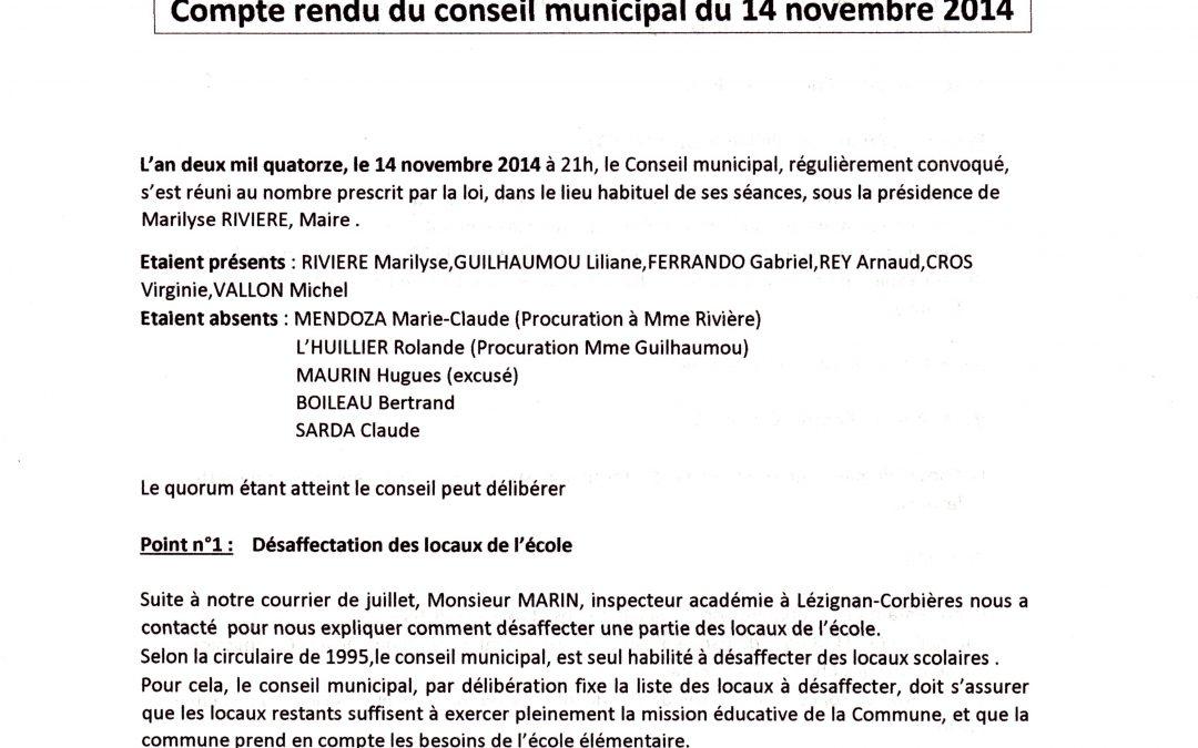 Compte rendu conseil municipal 2014-11-14