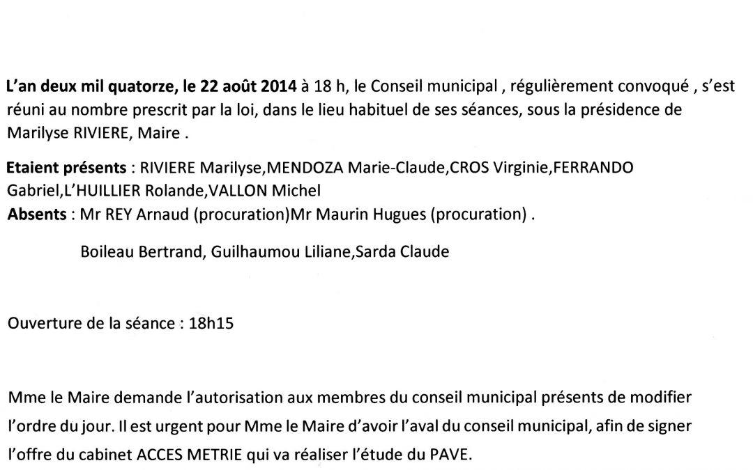 Compte rendu conseil municipal 2014-08-22