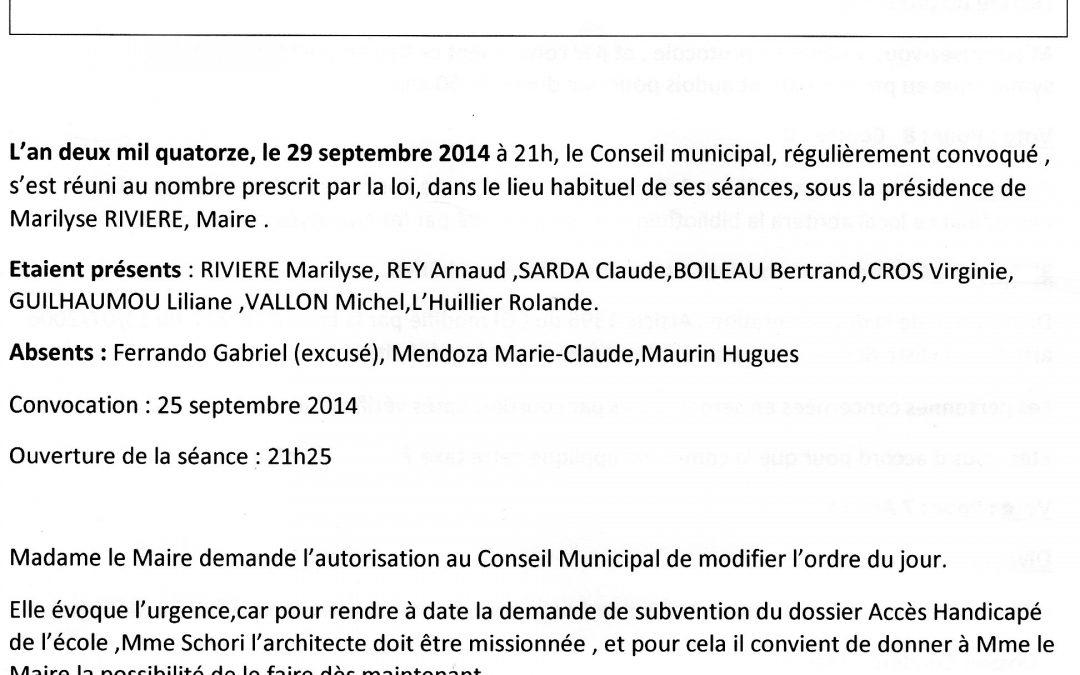Compte rendu Conseil municipal 2014-09-29