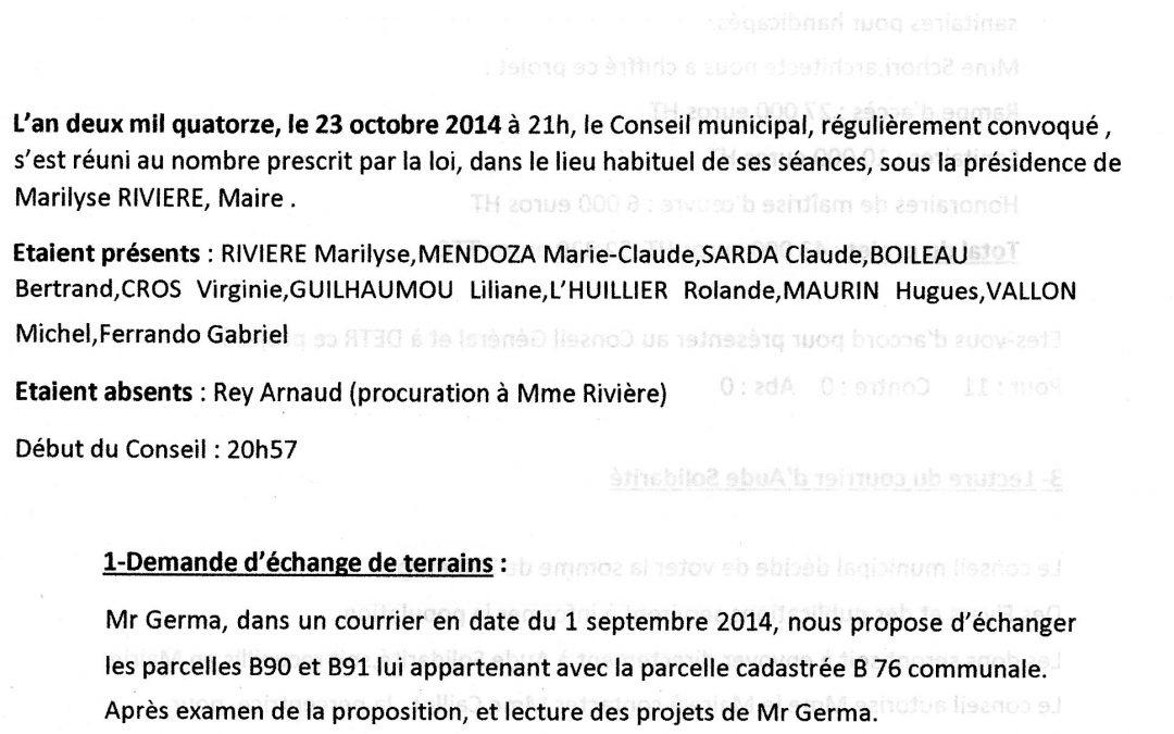 Compte rendu conseil municipal 2014-10-23