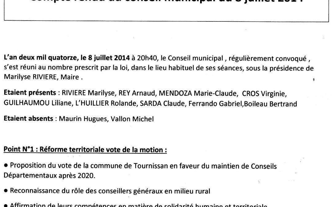 Compte rendu conseil municipal 2014-07-08