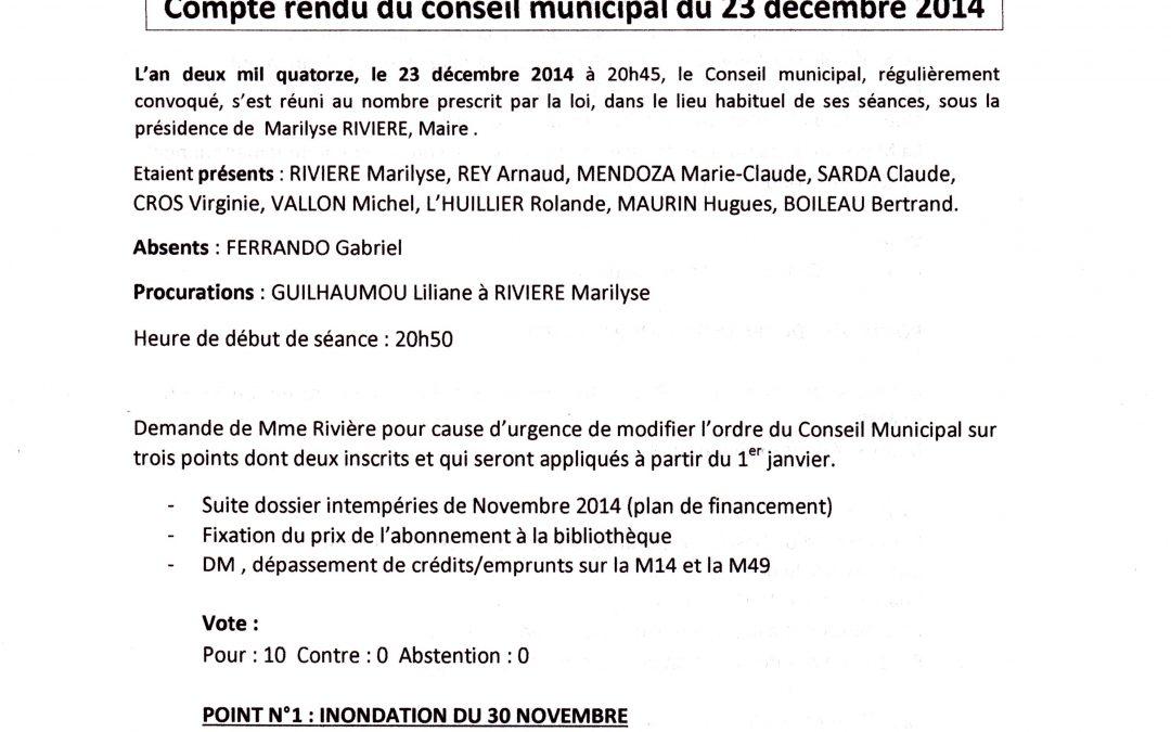 Compte rendu Conseil municipal 2014-12-23